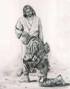 Jesus Blessing Soldier